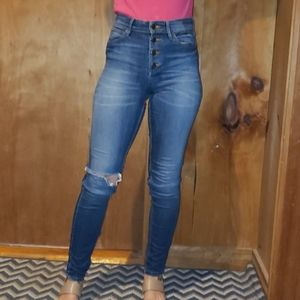 Guess distressed button up high rise 1981 jeans